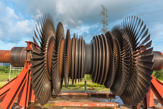 large turbine blades used steam boiler  in coal power plant