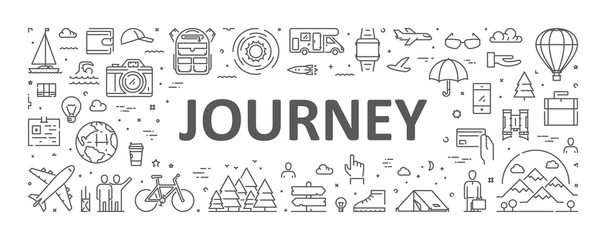 Fototapeta Vector line concept for journey. Modern linear banner for adventure obraz