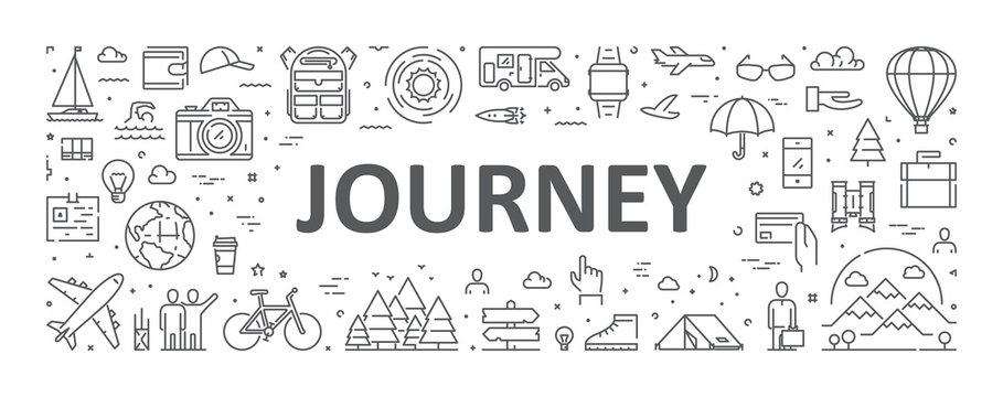 Vector line concept for journey. Modern linear banner for adventure