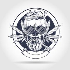 Sketch, skull rastaman.