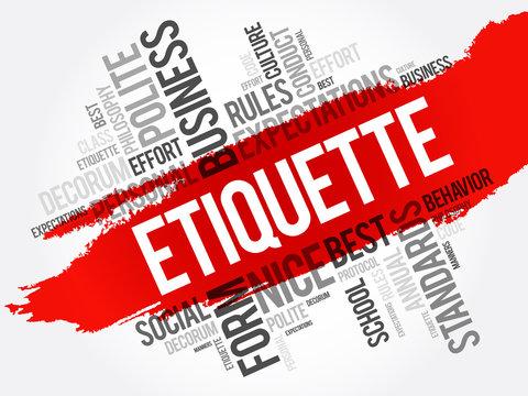 Etiquette word cloud collage, concept on blackboard