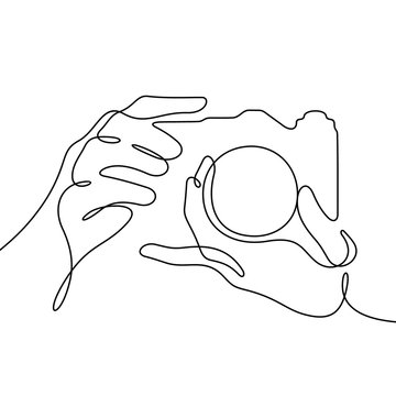 Hands holding camera continuous line vector illustration