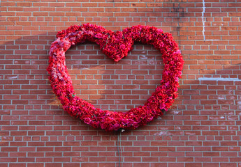 Flower garland on a brownstone building in New York City