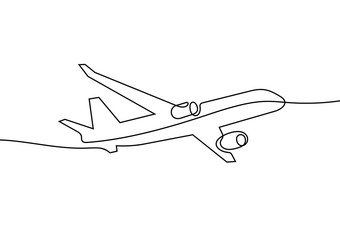 Plane continuous line vector illustration