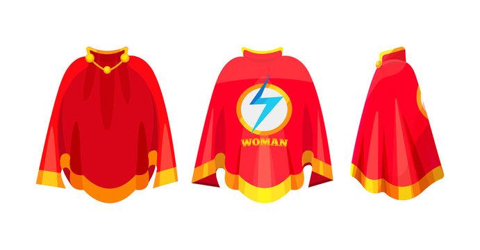 Beautiful red cape, superhero woman cape, carnival costume.