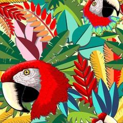 Macaw Parrot Arara Paper Craft Vector Seamless Pattern Design