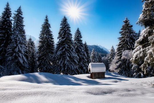 Austrian landscape with lots of snow