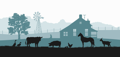 Silhouettes of farm animals. Rural landscape with cow, horse and pig. Village panorama for poster. Farmer house and livestock Wall mural