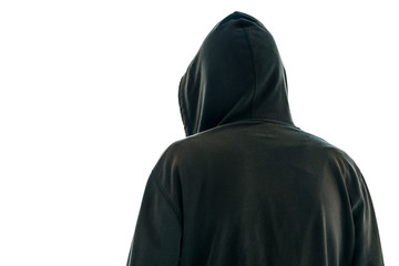 Rear view of hooded male person isolated onwhite background