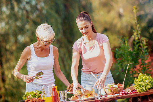 Family enjoying meal outdoors