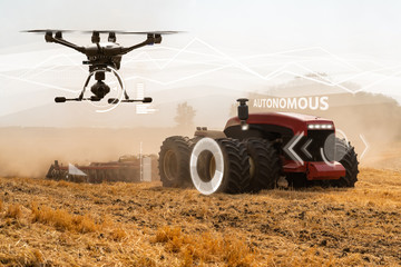 Wall Mural - Autonomous tractor and drone