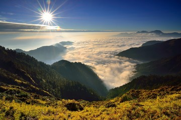 Sunset in the mountains and sea of clouds