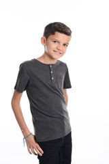 portrait of a young boy kid studio shot on white background