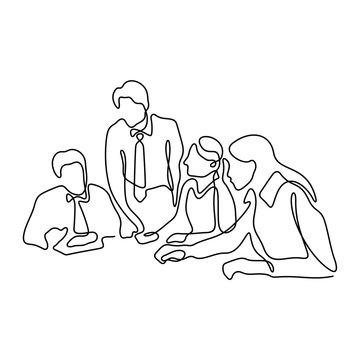 Business meeting continuous line vector illustration