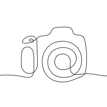 Camera continuous line vector illustration