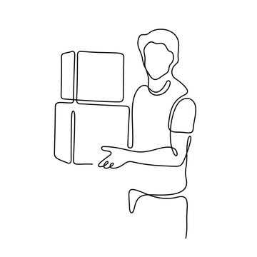Man holding boxes continuous line vector illustration