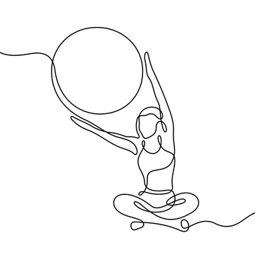 Woman training with fit ball continuous line vector illustration