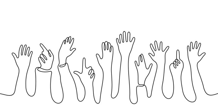 Hands crowd continuous line vector illustration