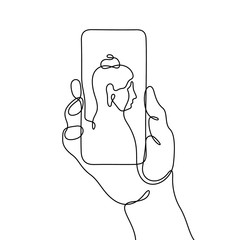 Hand holding smart phone with picture of Buddha on screen. Continuous line vector travel illustration