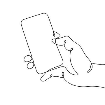Hand holding smart phone continuous line vector illustration