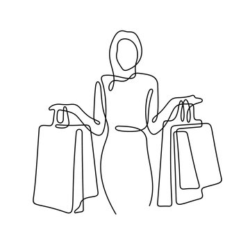 Woman with shopping bags continuous line vector illustration