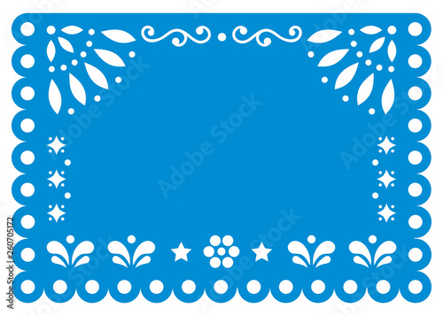Papel Picado Vector Template Design In Blue With No Text Mexican