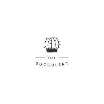 Hand drawn minimal illustration. Vector logo template with cactus.