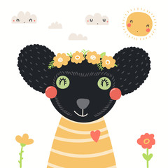 Spoed Fotobehang Illustraties Hand drawn portrait of a cute indri in shirt and flower wreath, with sun, clouds. Vector illustration. Isolated objects on white background. Scandinavian style flat design. Concept for children print.