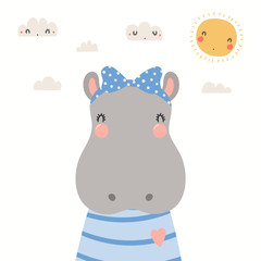 Spoed Fotobehang Illustraties Hand drawn portrait of a cute hippo in shirt and ribbon, with sun and clouds. Vector illustration. Isolated objects on white background. Scandinavian style flat design. Concept for children print.