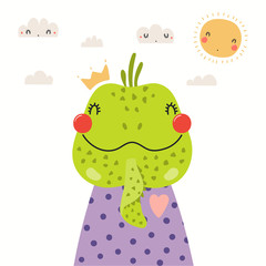 Spoed Fotobehang Illustraties Hand drawn portrait of a cute iguana in shirt and crown, with sun and clouds. Vector illustration. Isolated objects on white background. Scandinavian style flat design. Concept for children print.