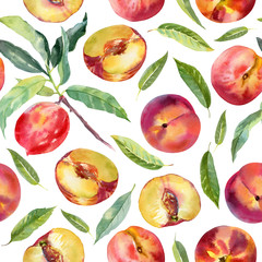 Seamless pattern with peaches and leaves