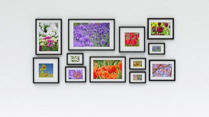 Photo frame on wall - flower picture (3D rendering)
