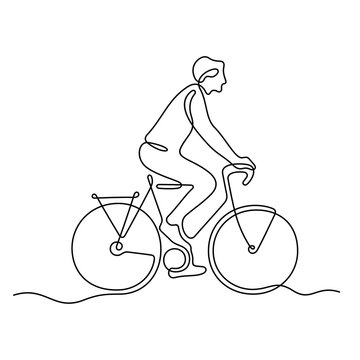 Man riding a bike continuous line vector illustration