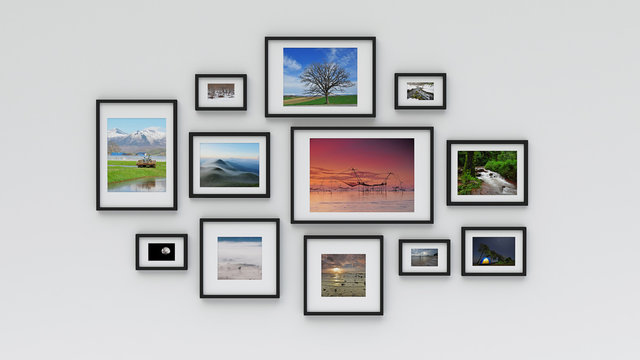 Photo frame on wall (3d rendering)