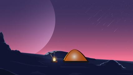 Starry sky, field, fire, tent. Night landscape.