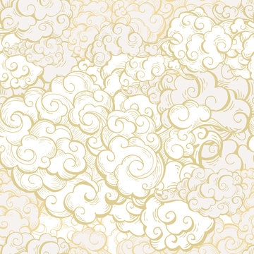 Chinese clouds hand drawn vector seamless pattern. Japanese, oriental style textile ornament. Golden outline swirls, curls background. Asian traditional holidays postcard backdrop, wrapping paper