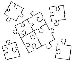 Puzzle mit einzelnen Puzzleteilen