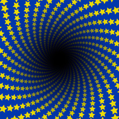 Star pattern. Spiral infinity with black hole. Yellow stars on blue background, European flag colors. Twisted circular fractal illustration, powerful, dynamically. Vector illustration.