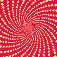 Spiral star pattern. Yellow shootin stars on red background. Twisted circular fractal illustration, powerful, dynamically, hypnotizing design. Vector illustration.