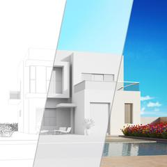Planung modernes Haus mit CAD Skizze und Rendering