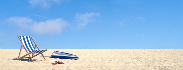 Urlaub im Sommer am Strand im Liegestuhl Wall mural