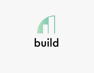 Creative geometric logo building icon for construction company