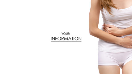 Woman stomach ache health care concept pattern on white background isolation