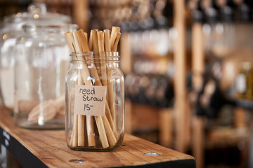 Close Up Of Reed Drinking Straws In Sustainable Plastic Free Grocery Store