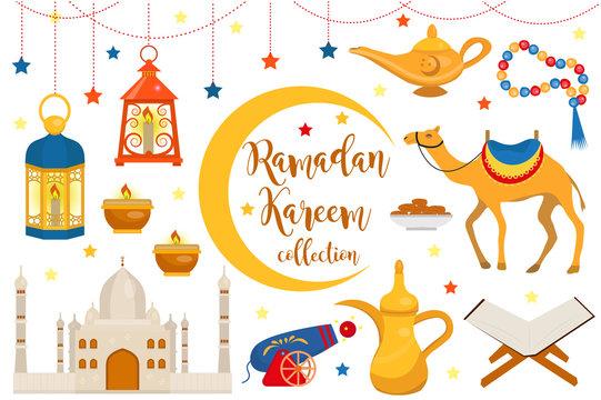 Ramadan kareem flat icon set, cartoon style. Collection of arabic design elements with camel, quran, lanterns, rosary, food, mosque. Vector illustration.