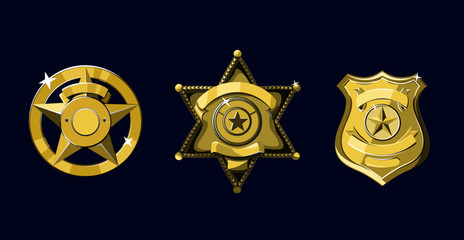 Golden Sheriff and police badges set