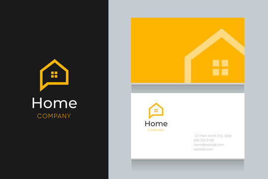 bubble house logo with business card template.