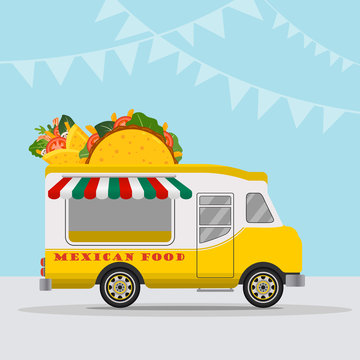 Food truck logotype for Mexican food meal fast delivery service or summer food festival. Truck van with Mexican food, taco and burrito. Vector illustration.