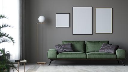 Posters in room 3d render