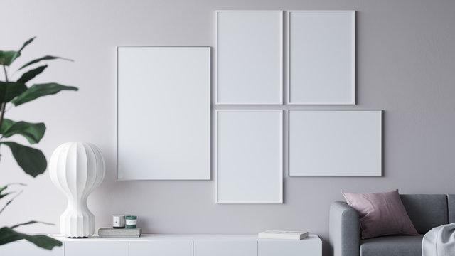 Empty posters in modern interior 3d render